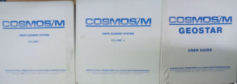 COSMOS/M finite element system + Geostar - For IBM 286/386 systems. Structural Research, Analysis Corporation.