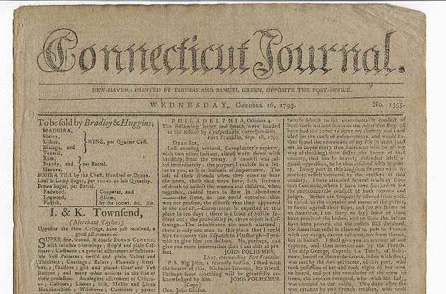 Connecticut Journal. Wednesday, October 16, 1793. No. 1355. Thomas, Samuel Green.