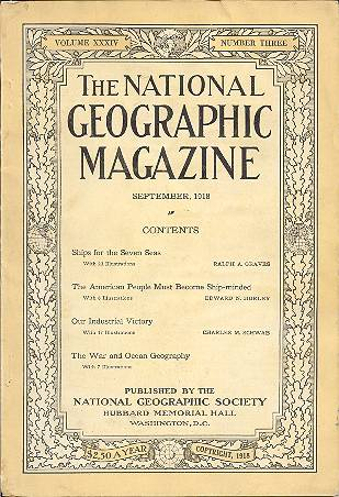 The National Geographic Magazine September, 1918. volume XXXIV, Number Three. Gilbert H. Grosvenor.