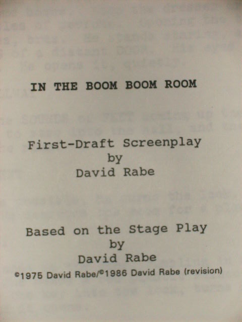 In The Boom Boom Room David Rabe First Draft