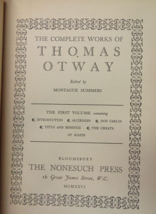 The complete works of Thomas Otway - 3 Volume set
