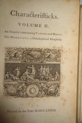 Characteristicks of men, manners, opinions, times : in three volumes