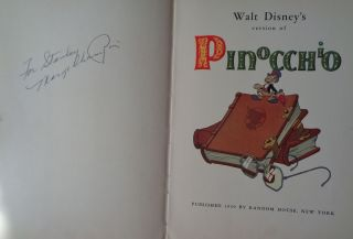 Walt Disney's version of Pinocchio, SIGNED by Marge Champion, Disney star dancer, actress and choreographer.