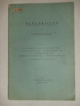 ELECTRICITY IN GYNECOLOGY