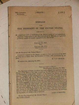 Message from The President of the United States 26th Congress, 2nd Session. January 20, 1841/January 26, 1841. Senate of the United States.