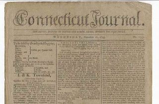 Connecticut Journal. Wednesday, October 16, 1793. No. 1355